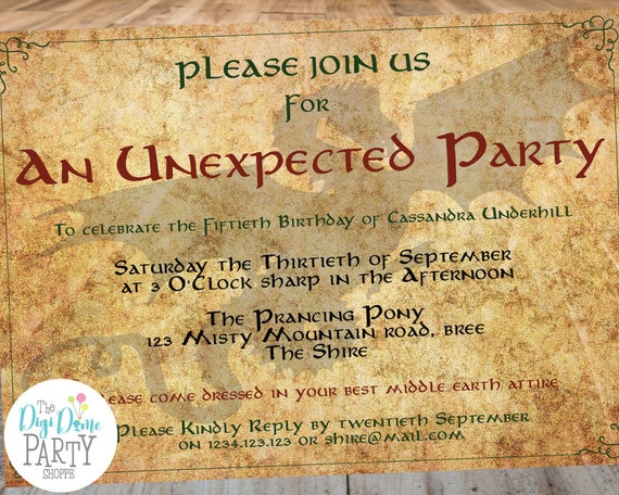 Middle Earth Unexpected Party Printable Invitation