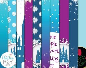 Frozen Ice Castle Digital Scrapbooking Paper Pack, Buy 2 Get 1 FREE. Instant Download