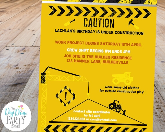 construction party printable invitation template 5x7in black and