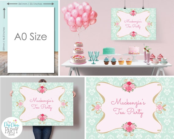 high tea party printable backdrop template a0 size mint green and