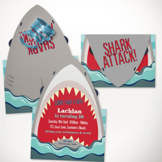 Shark Party Printable Invitation Template 5x7in