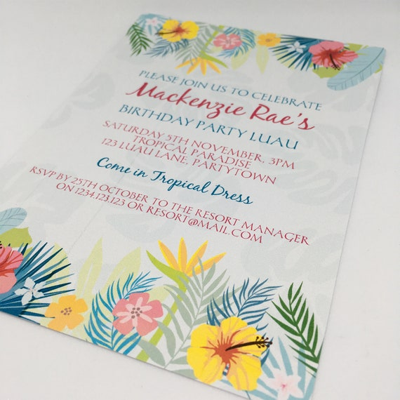 Tropical Flowers Luau Party Printable Invitation Template 5x7in