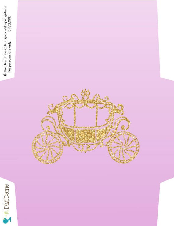 princess carriage party printable invitation template 5x7in