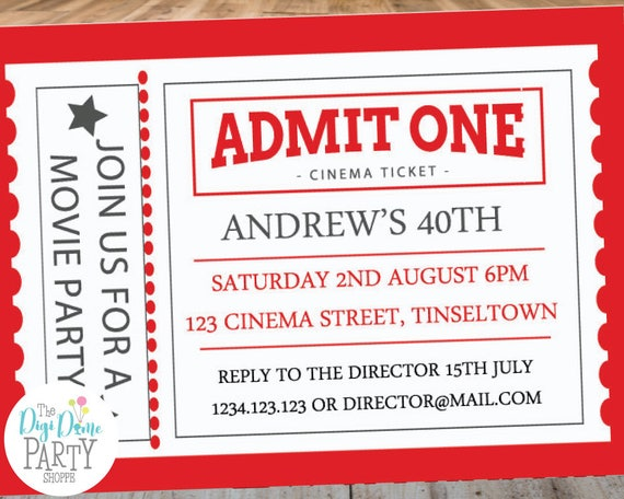 Cinema Ticket Printable Party Invitation Template 5x7in Red And