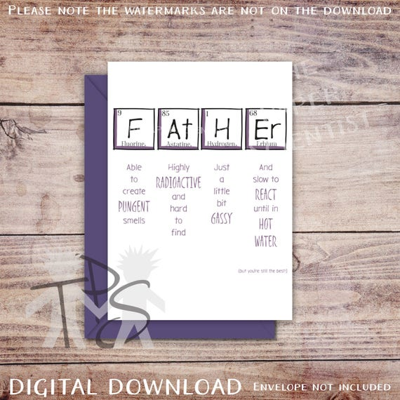 Printable fathers day card greetings card periodic m4hsunfo