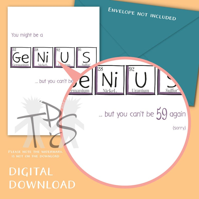 Funny Birthday Card For Her Birthday Unique Fun Card Greetings Card Periodic Table 5 x 7 inch Printable 60th Birthday Card