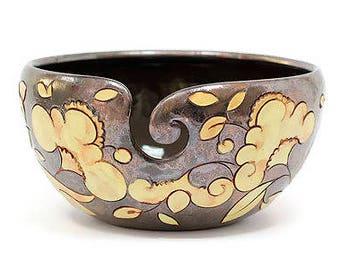 Yarn Bowl with Flowers, Pottery Yarn Bowl, Crochet Bowl, Knitting Bowl, Yarn Bowls, Yarn, Yarn Holder, Knitting Supplies, Ceramic Yarn Bowl