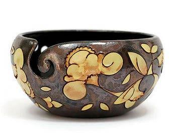 Yarn Bowl with Flowers, Pottery Yarn Bowl, Ceramic Yarn Bowl, Crochet Bowl, Knitting Bowl, Yarn Bowls, Yarn, Yarn Holder, Knitting Supplies