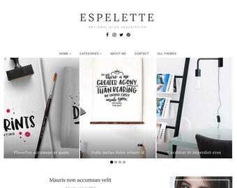 Blogger Template Responsive, Blogger Theme, Minimal, Slider, Simple, Photography, Template for Blogger, Premade, Blogspot - Espelette