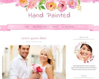 Blogger Template Responsive, Blogger Theme, Template for Blogger, Premade, Watercolor Flowers, Painting, Watercolor Template - Hand Painted