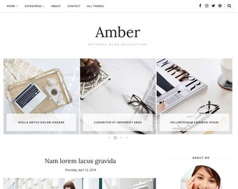 Blogger Template Responsive, Blogger Theme, Minimal, Slider, Simple, Photography, Template for Blogger, Premade, Blogspot - Amber