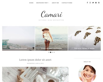 Blogger Template Responsive, Blogger Theme, Minimal, Slider, Simple, Photography, Template for Blogger, Premade, Blogspot - Camari