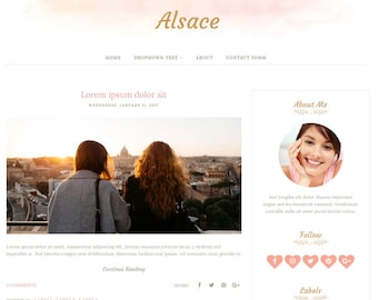 Blogger Template Responsive, Blogger Theme, Minimal, Simple, Photography, Watercolor Template for Blogger, Premade, Blogspot - Alsace