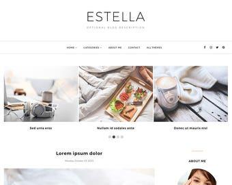 Blogger Template Responsive, Blogger Theme, Minimal, Slider, Simple, Photography, Template for Blogger, Premade, Blogspot - Estella