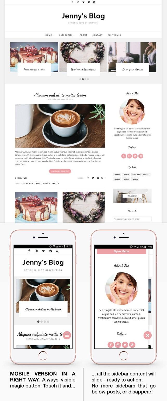 Blogger Template Responsive, Blogger Theme, Minimal, Photography, Blogspot Template, Blogspot Theme, Blogger Layout, Blog Template - Jenny