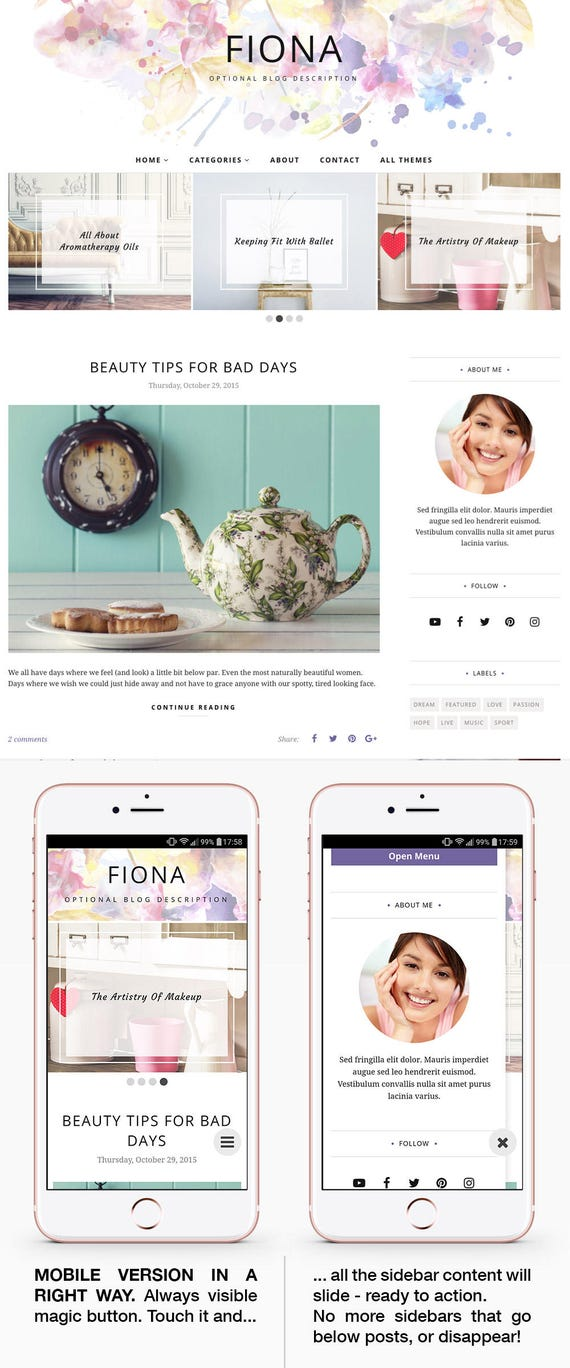 Blogger Template Responsive, Blogger Theme, Minimal, Photography, Blogspot Template, Blogspot Theme, Blogger Layout, Blog Template - Fiona