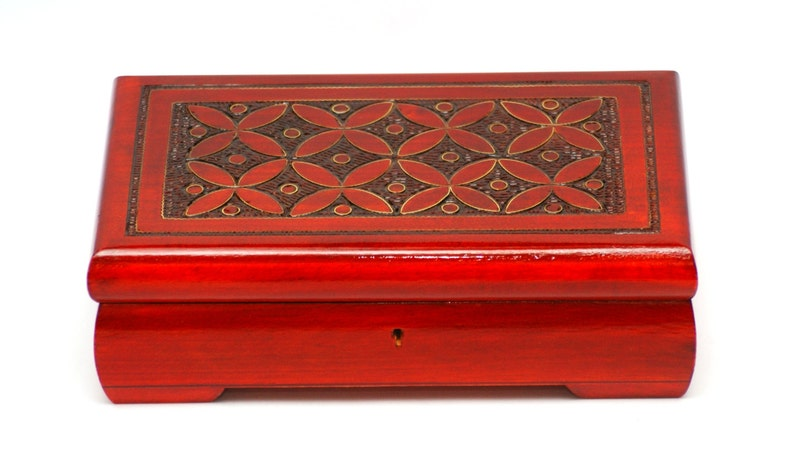 676384d1a Wooden jewelry box red wood box for jewelry and trinkets red