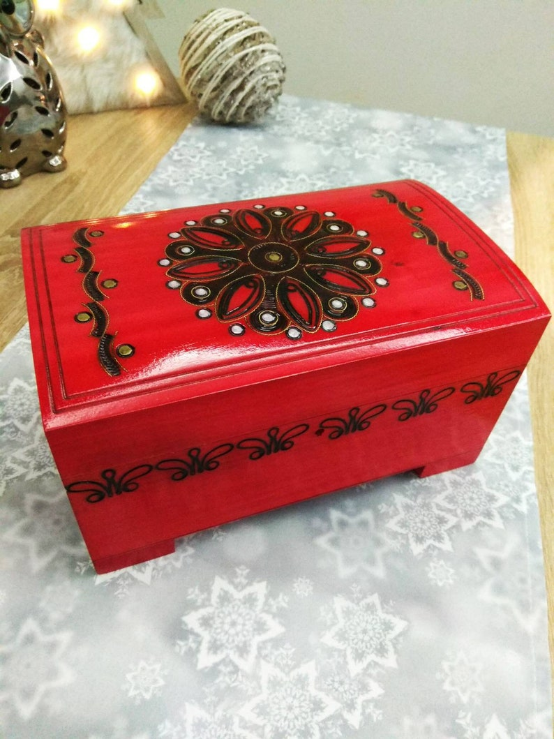 3f79b4c2a Wooden jewelry box wooden watch box wood trinket casket red
