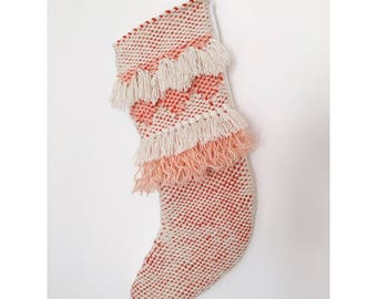 Hand Woven Pink and Ivory Christmas Stocking