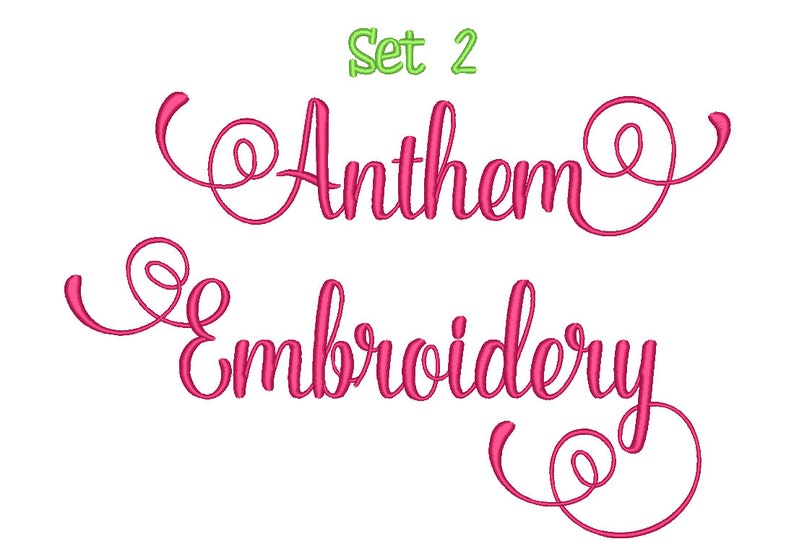 SALE!! Anthem Script Embroidery Font Set 2 Machine Embroidery Monogram Font  Designs 5 Size Bx Embroidery Fonts - INSTANT DOWNLOAD