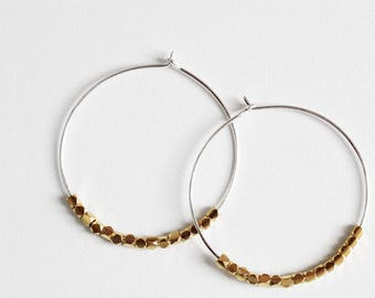 Sterling Silver Hoop Earrings with 14k Gold Fill Cube Beads, Bohemian Butterfly, Mixed Metal, Gift for Her - CHARLEY