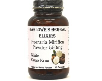 Pueraria Mirifica (White Kwao Krua)-60(550mg)Vegi-Caps, Stearate Free, Glass Bottle! Highest Quality & Potency. BarlowesHerbalElixirs