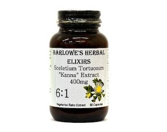 Sceletium (Kanna) 6:1 Extract,SCELETIUM TORTUOSUM, Vegi-Caps, Stearate Free, Glass Bottle! Highest Quality & Potency. BarlowesHerbalElixirs