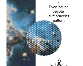 Monkey Head Nebula I - even peyote cuff beaded bracelet pattern; tutorial, pdf file