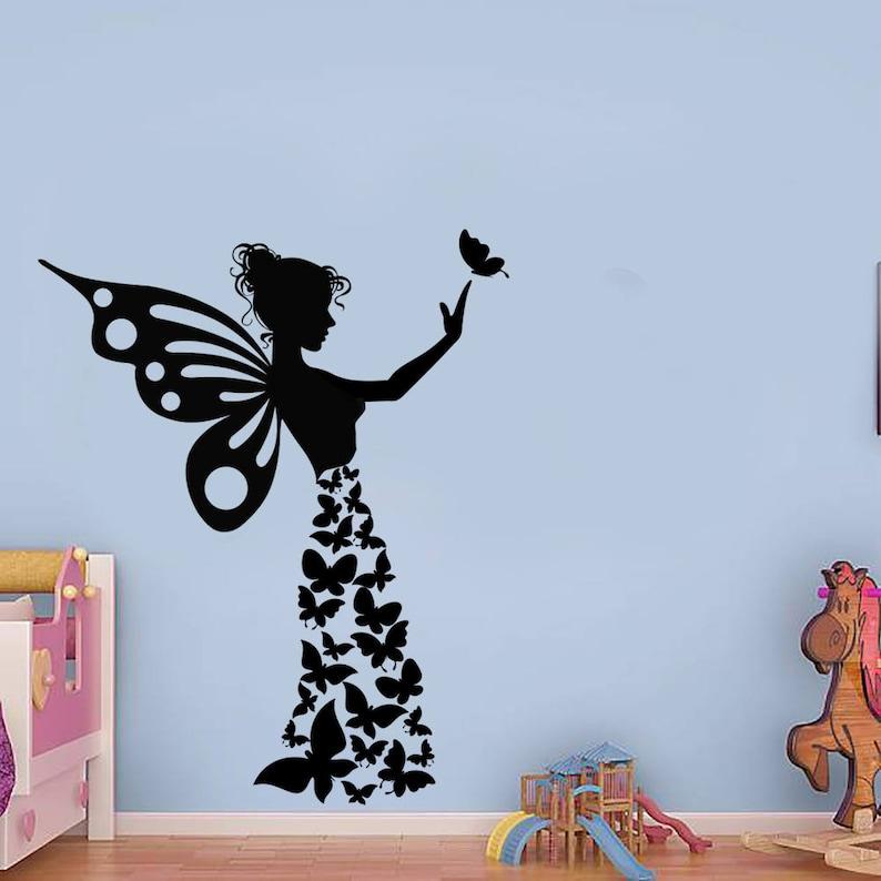butterfly girl handmade sticker butterflies wall sticker | etsy