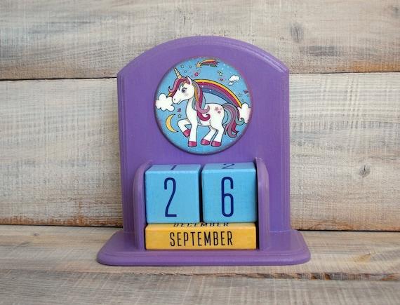 blu Calendario in legno calendario in legno vintage Calendario da tavolo in legno Mese Data Display Orologio da ufficio Decorazione sveglia Orologio Calendario in legno