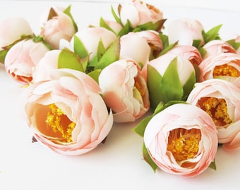 "Soft Pink Mini Ranunculus 25 Heads Buttercup Ranunculus Artificial Silk Flowers 1.2"" Floral Hair Accessory Flower Supplies Mini Flower"