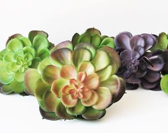 7 Artificial Succulents Echeveria Succulent Dark Purple Green Fake Faux Succulents DIY Wedding Decor Hair Accessories Flower Supplies