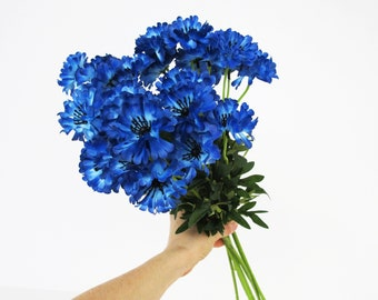 Blue Cornflower Branches 10 Artificial Flowers Silk Cornflowers Branch Wild Flowers Bush Blue Green Floral Accessory Faux Fabric
