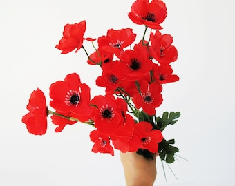 Artificial poppies etsy grand sale 5 artificial flowers silk poppy branches windflower bouquet anemone bush 5 red green black 18 floral accessory faux fabric mightylinksfo