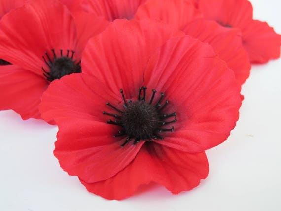 50 Red Poppies Silk Artificial Flowers Silk Poppy 35 Etsy