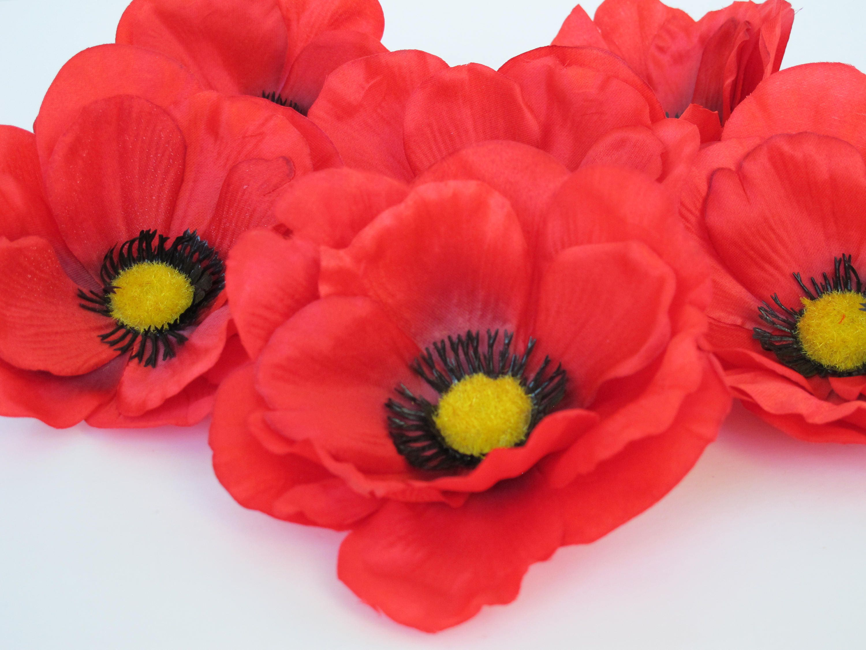 24 Big Red Poppies Silk Artificial Flowers Silk Poppy Etsy