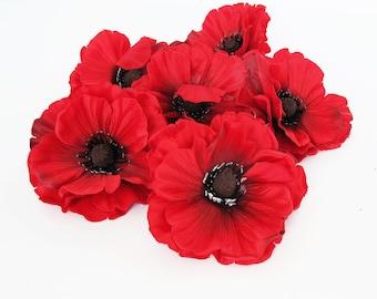 "24 Red Poppies Artificial Flowers Silk Dark Red Poppy 4"" Flower Floral Hair Accessories Wedding Anemones Supplies Faux Fake Anemone"