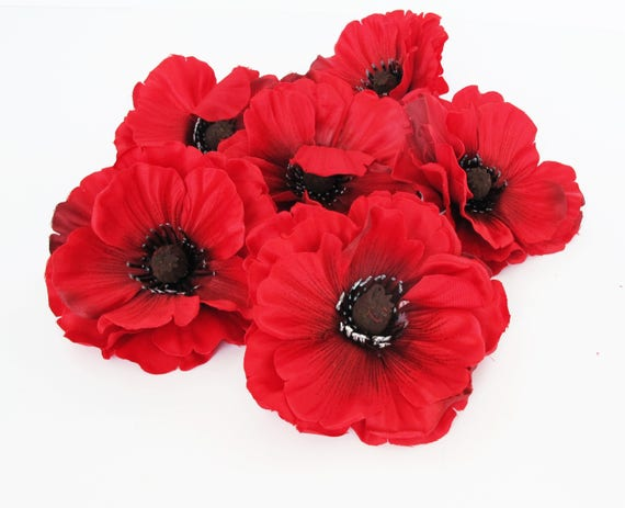 24 red poppies artificial flowers silk dark red poppy 4 etsy mightylinksfo