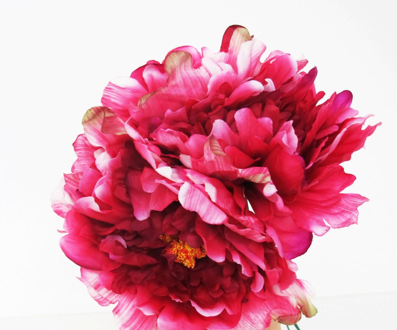 8 Dark Pink Silk Peonies Big Artificial Flowers Peony Pink Etsy