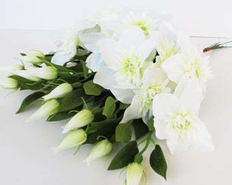 White Clematis 12 Branches Silk Flowers Artificial Flowers Silk Flower Bouquet Clematis Bush White Green Floral Accessory Faux Fabric