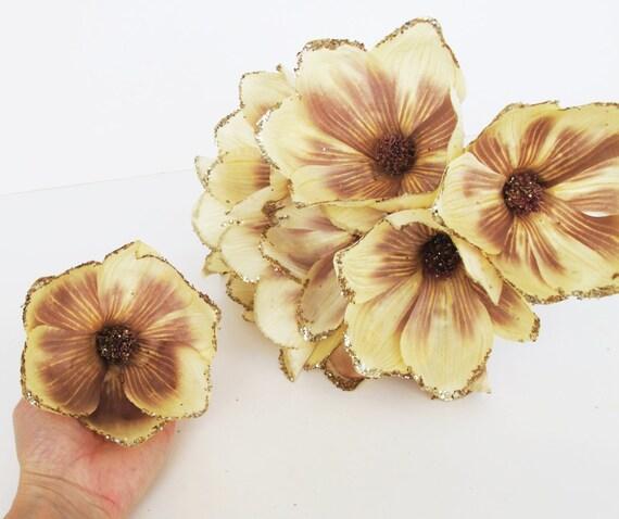 10 silk magnolias glitter shiny artificial flowers magnolia etsy image 0 mightylinksfo