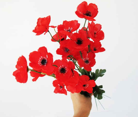 Grand Sale 25 Poppies Artificial Flowers Silk Poppy Branches Etsy