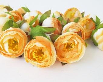 "Soft Orange 25 Mini Ranunculus Heads Buttercup Ranunculus Artificial Silk Flowers 1.2"" Hair Accessory Flower Supplies Fabric Mini Flower"