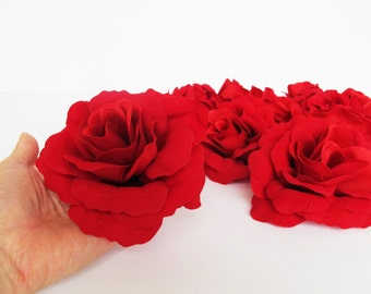"""10 Red Velvet Roses Silk Rose Artificial Flowers 4.7"""" DIY Wedding Decor Home Roses Decor Love Day Floral Hair Accessories Flower Supplies"""