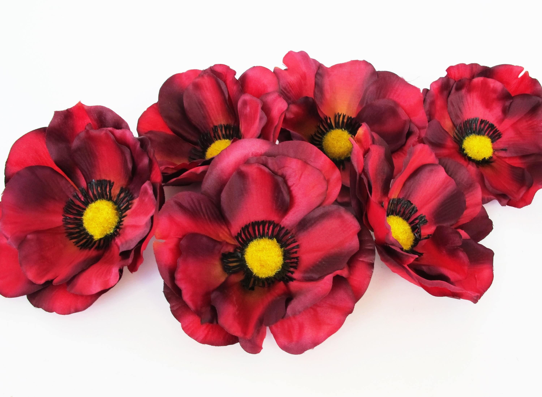 Dark Red 24 Poppies 45 Silk Artificial Flowers Silk Poppy Flower