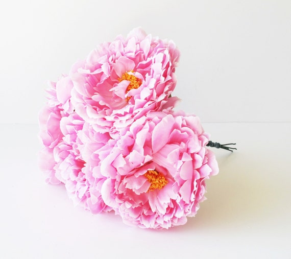 5 silk peony artificial flowers pink yellow center 59 etsy image 0 mightylinksfo