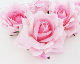 "Soft Pink Velvet Roses 10 Artificial Roses Silk Flowers Silk Rose Artificial Flowers 4.5"" DIY Wedding Decor Hair Accessories Flower Supplies"