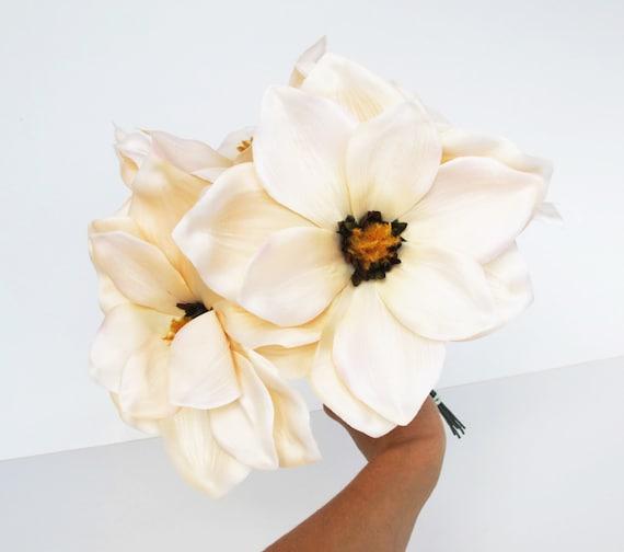 7 silk magnolias artificial flowers magnolia flower big creamy etsy image 0 mightylinksfo