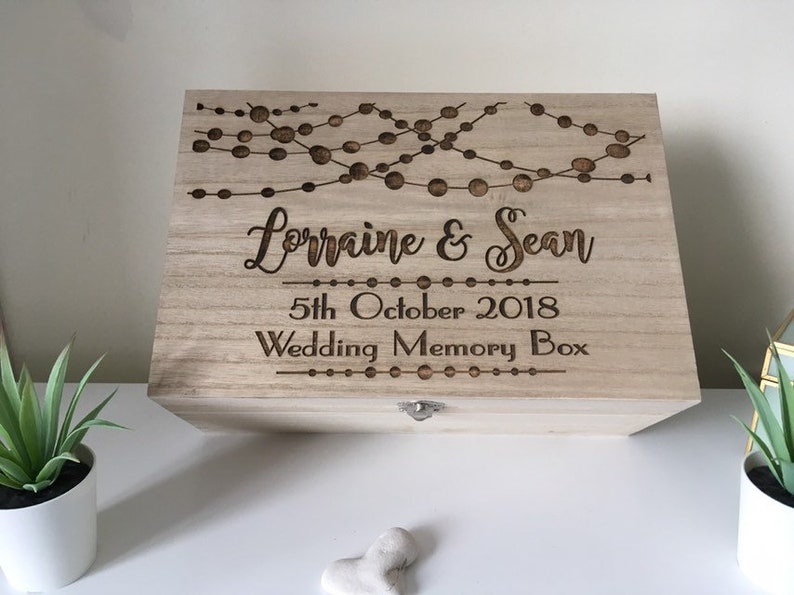Engraved Wooden Wedding Memory Box Personalised Memory Box Time Capsule Keepsake Box