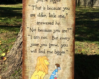 Reclaimed Wood Narnia Art - Aslan and Lucy